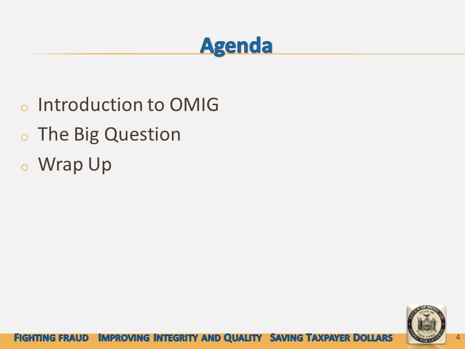 o Introduction to OMIG o The Big Question o Wrap Up 4