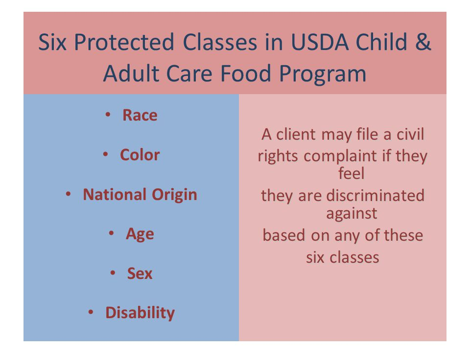 Six Protected Classes in USDA Child & Adult Care Food Program Race Color National Origin Age Sex Disability A client may file a civil rights complaint if they feel they are discriminated against based on any of these six classes