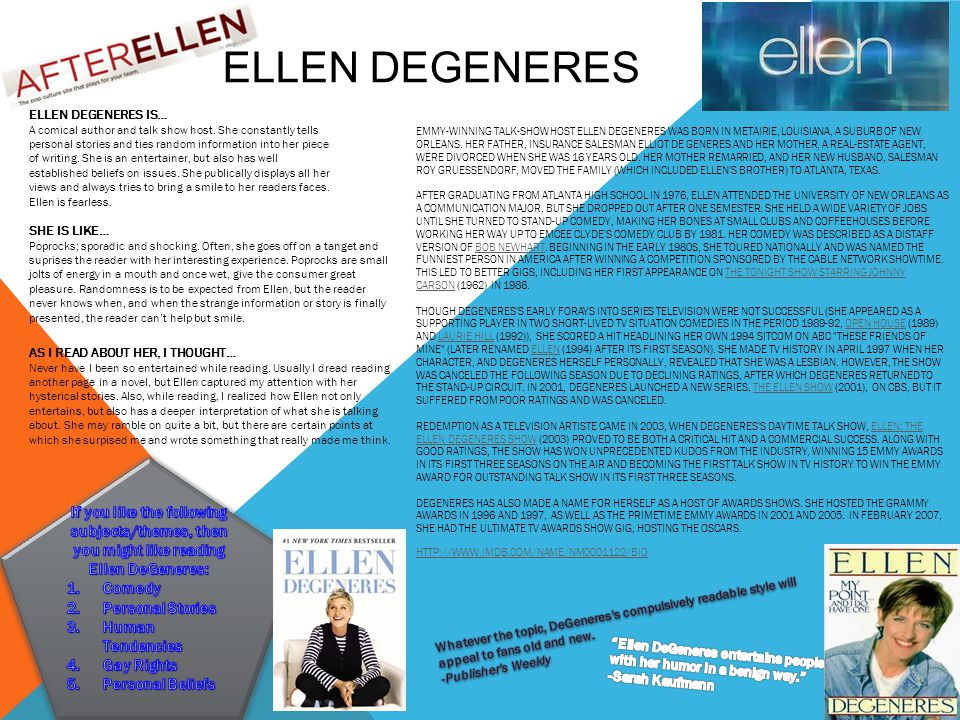 ELLEN DEGENERES EMMY-WINNING TALK-SHOW HOST ELLEN DEGENERES WAS BORN IN METAIRIE, LOUISIANA, A SUBURB OF NEW ORLEANS.