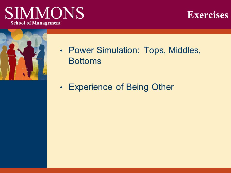 SIMMONS School of Management Exercises Power Simulation: Tops, Middles, Bottoms Experience of Being Other