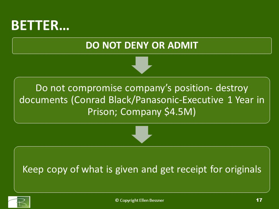 BETTER… © Copyright Ellen Bessner17 DO NOT DENY OR ADMIT Do not compromise company's position- destroy documents (Conrad Black/Panasonic-Executive 1 Year in Prison; Company $4.5M) Keep copy of what is given and get receipt for originals