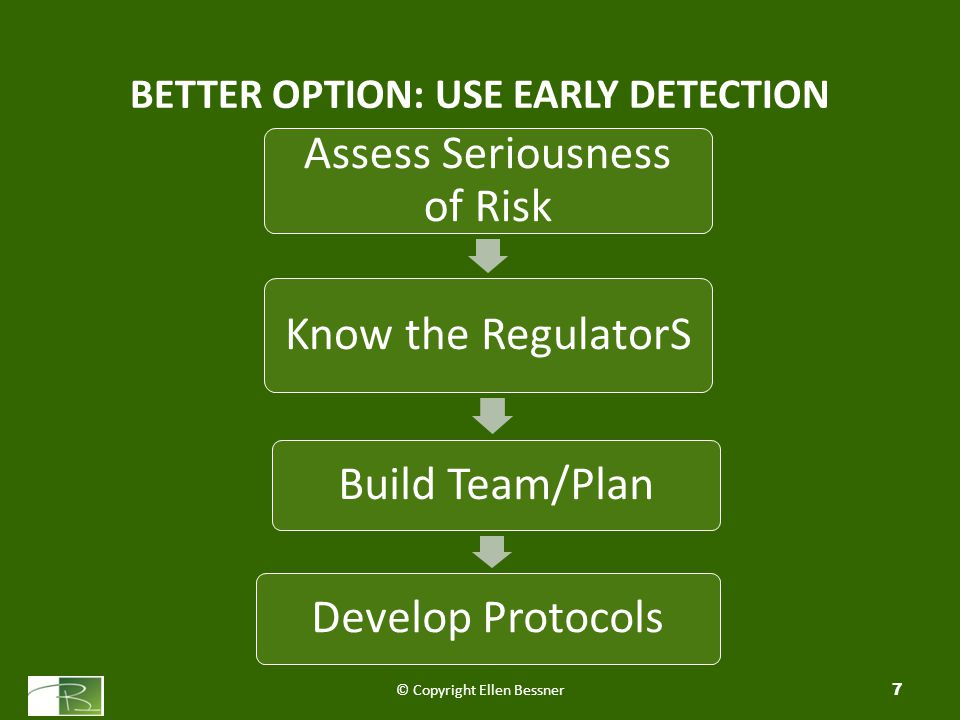 7 Assess Seriousness of Risk Know the RegulatorS Build Team/PlanDevelop Protocols BETTER OPTION: USE EARLY DETECTION