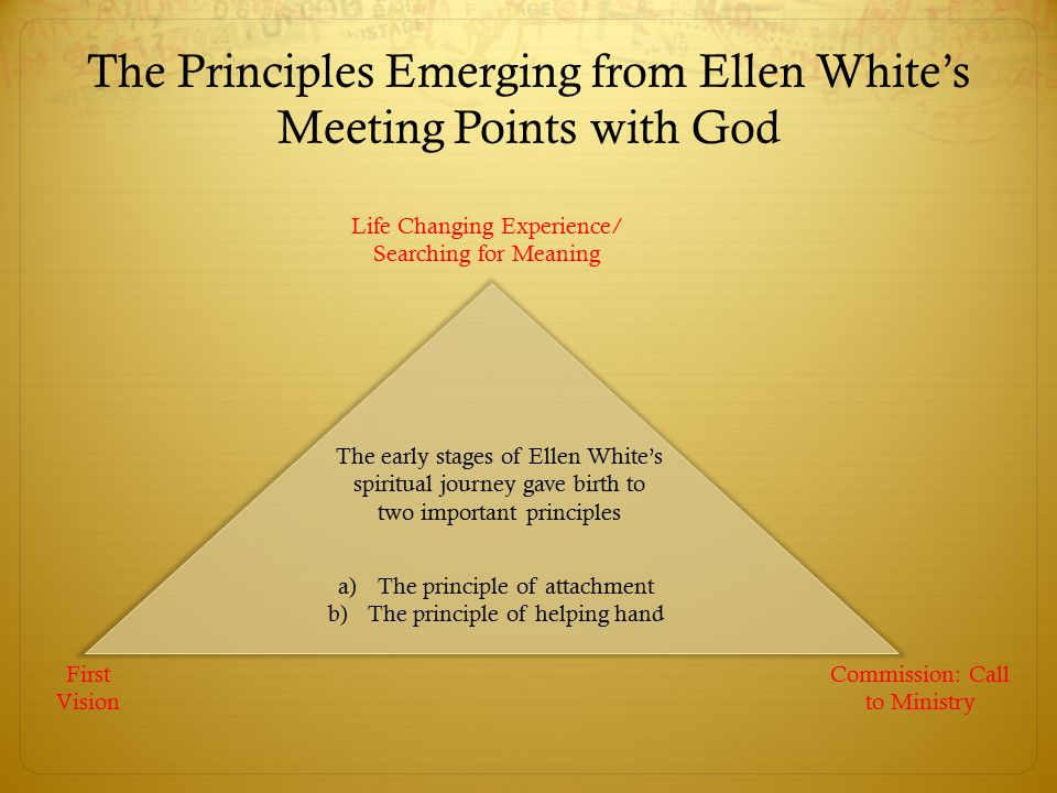 The Principles Emerging from Ellen White's Meeting Points with God Life Changing Experience/ Searching for Meaning First Vision Commission: Call to Ministry The early stages of Ellen White's spiritual journey gave birth to two important principles a)The principle of attachment b)The principle of helping hand