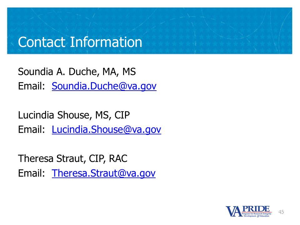 45 Contact Information Soundia A.