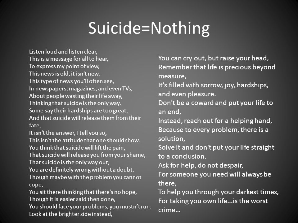 Suicide=Nothing Listen loud and listen clear, This is a message for all to hear, To express my point of view, This news is old, it isn't new. This typ