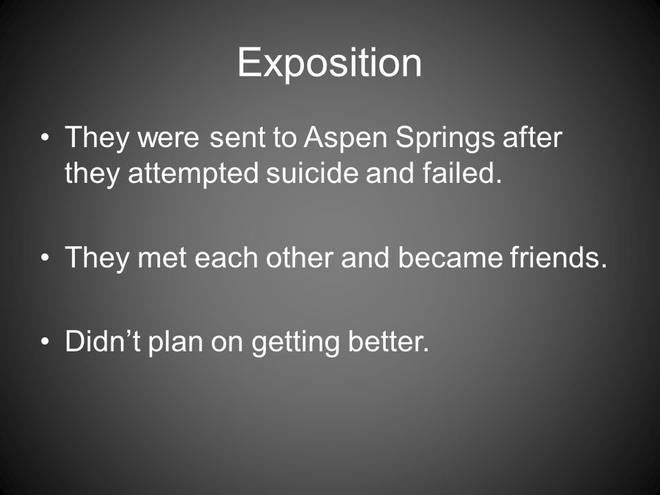 Exposition They were sent to Aspen Springs after they attempted suicide and failed. They met each other and became friends. Didn't plan on getting bet