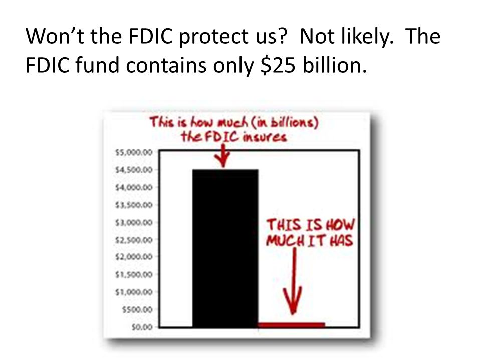 Won't the FDIC protect us Not likely. The FDIC fund contains only $25 billion.