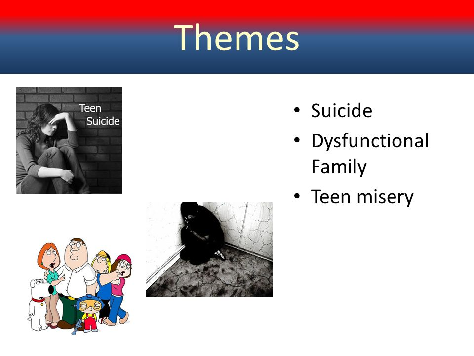 Themes Suicide Dysfunctional Family Teen misery