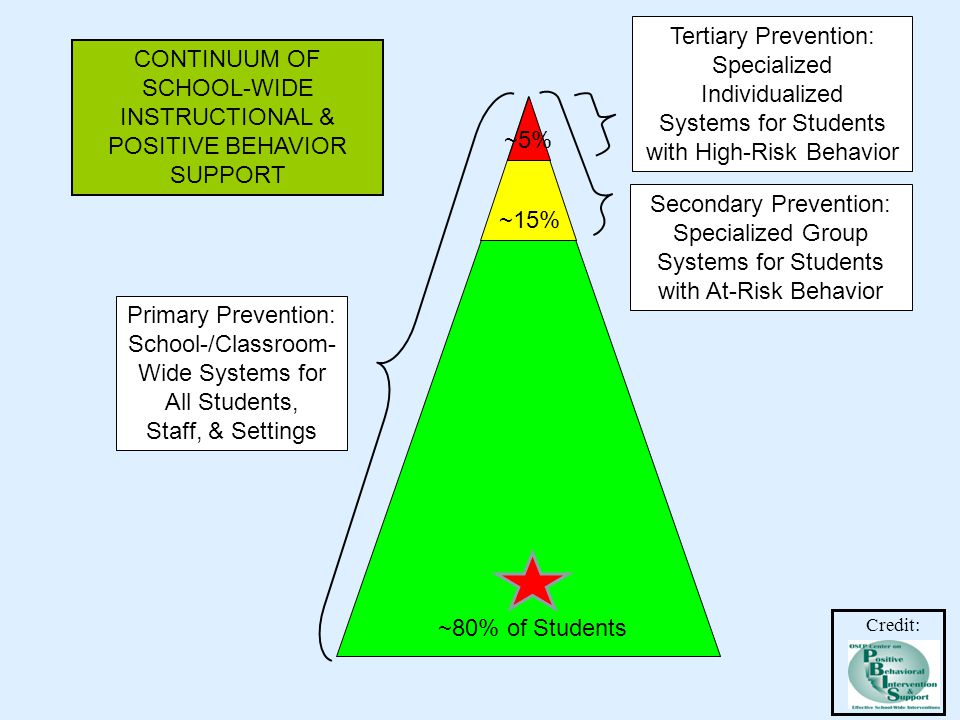 Primary Prevention: School-/Classroom- Wide Systems for All Students, Staff, & Settings Secondary Prevention: Specialized Group Systems for Students with At-Risk Behavior Tertiary Prevention: Specialized Individualized Systems for Students with High-Risk Behavior ~80% of Students ~15% ~5% CONTINUUM OF SCHOOL-WIDE INSTRUCTIONAL & POSITIVE BEHAVIOR SUPPORT Credit:
