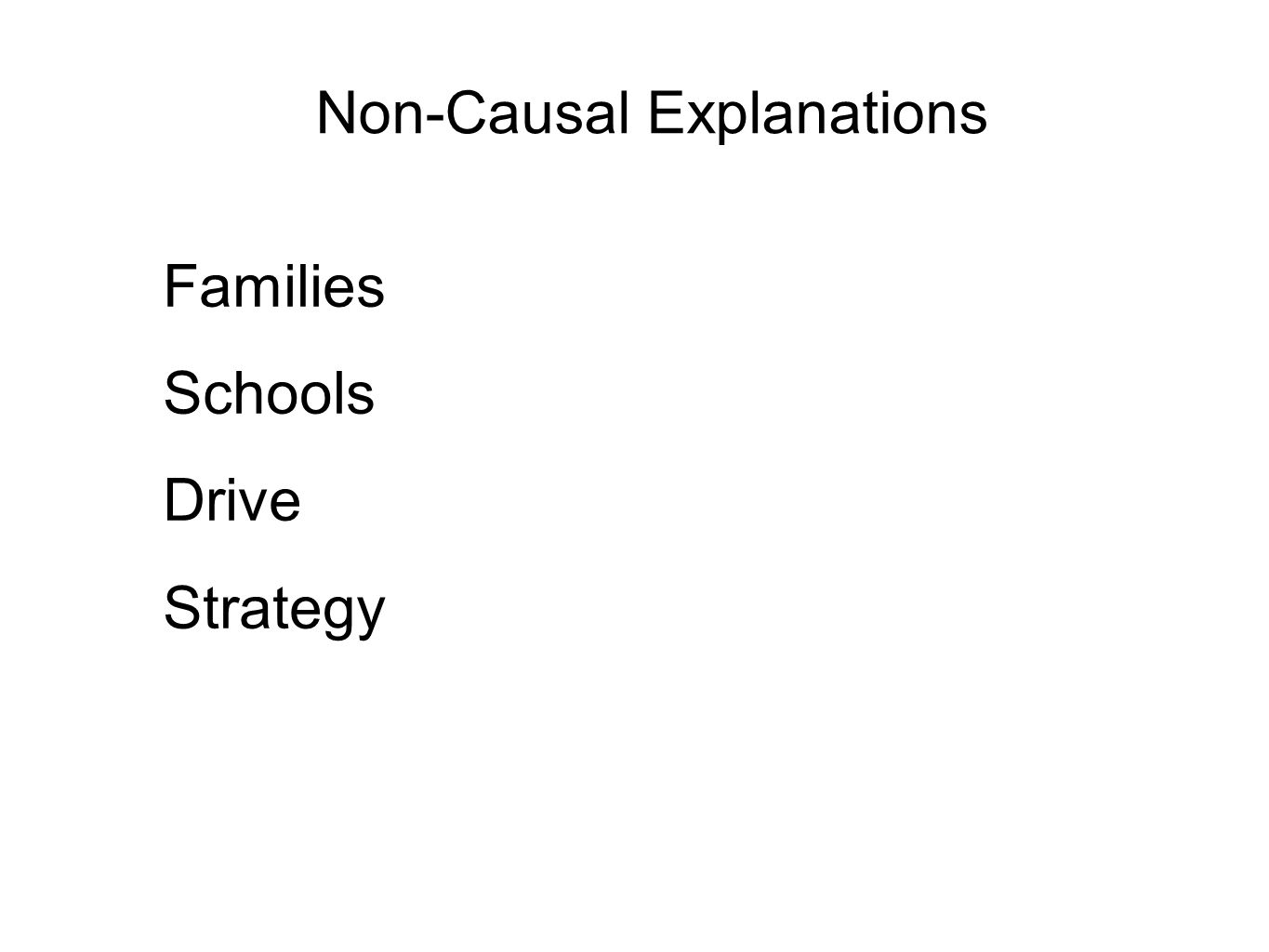Non-Causal Explanations Families Schools Drive Strategy