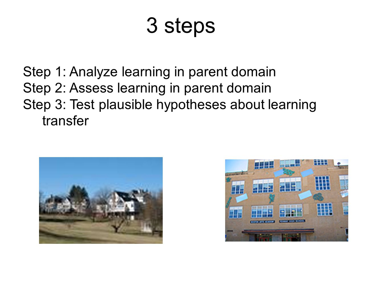 3 steps Step 1: Analyze learning in parent domain Step 2: Assess learning in parent domain Step 3: Test plausible hypotheses about learning transfer