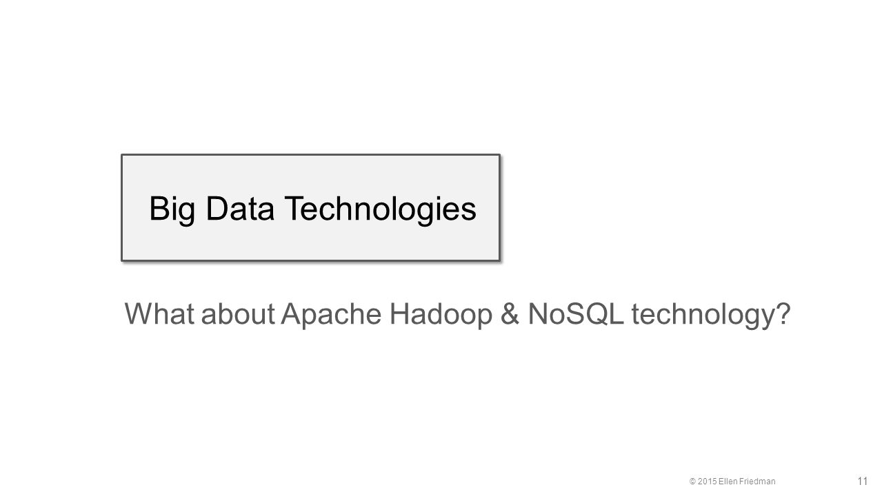 © 2015 Ellen Friedman 11 Big Data Technologies What about Apache Hadoop & NoSQL technology?
