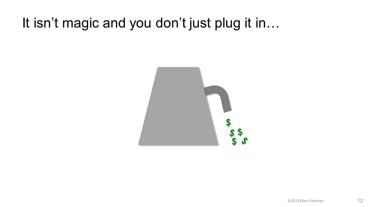 © 2015 Ellen Friedman 12 It isn't magic and you don't just plug it in… $ $ $ $ $