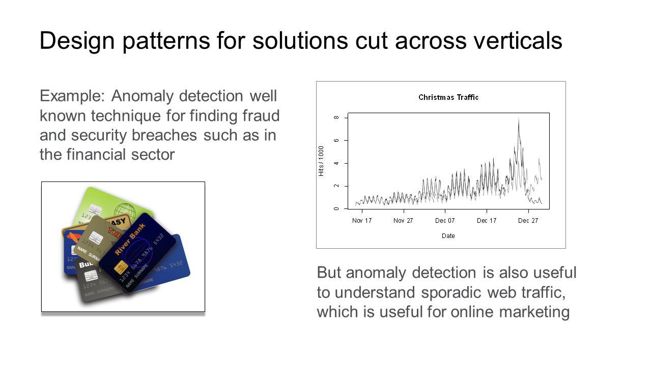 © 2015 Ellen Friedman 23 Design patterns for solutions cut across verticals Example: Anomaly detection well known technique for finding fraud and security breaches such as in the financial sector But anomaly detection is also useful to understand sporadic web traffic, which is useful for online marketing