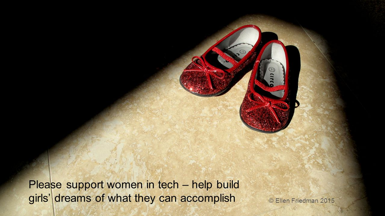 © 2015 Ellen Friedman 32 Please support women in tech – help build girls' dreams of what they can accomplish © Ellen Friedman 2015