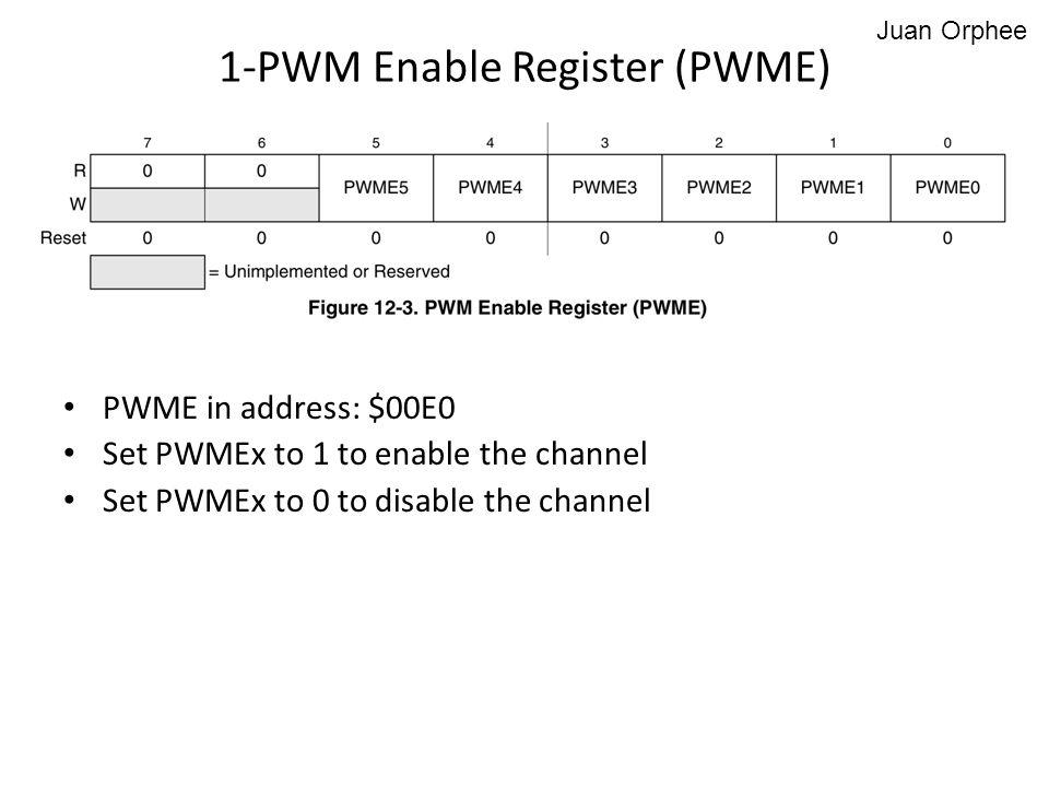 PWME in address: $00E0 Set PWMEx to 1 to enable the channel Set PWMEx to 0 to disable the channel 1-PWM Enable Register (PWME) Juan Orphee