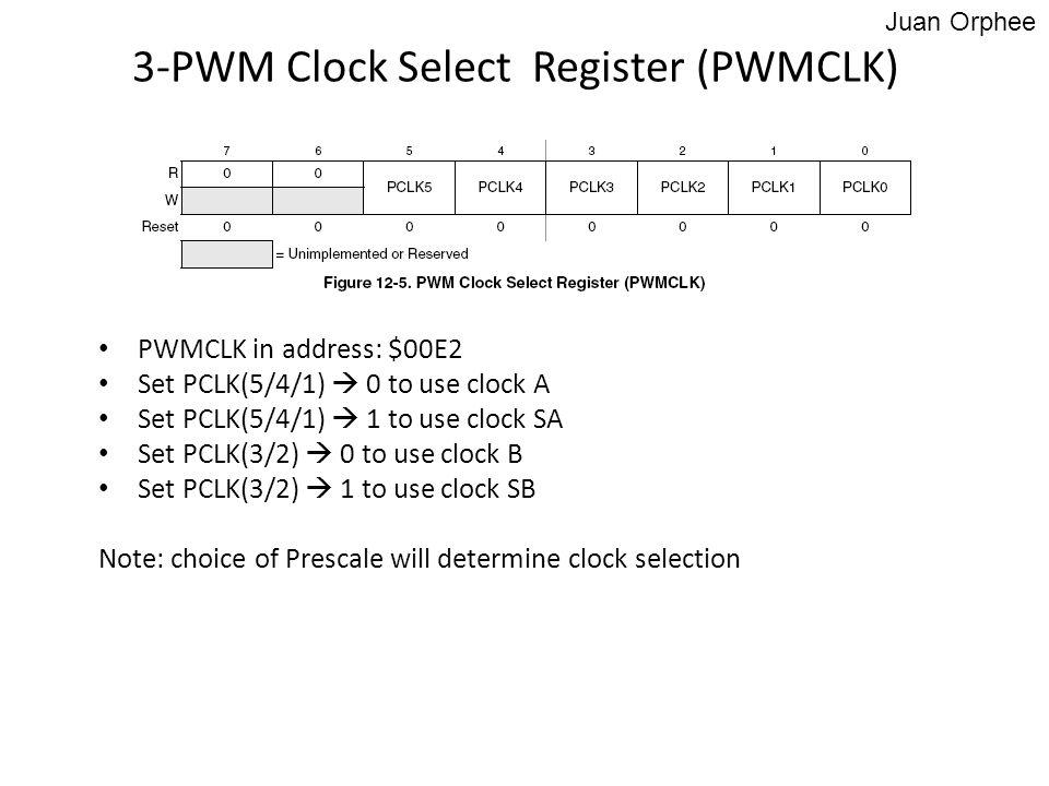 PWMCLK in address: $00E2 Set PCLK(5/4/1)  0 to use clock A Set PCLK(5/4/1)  1 to use clock SA Set PCLK(3/2)  0 to use clock B Set PCLK(3/2)  1 to
