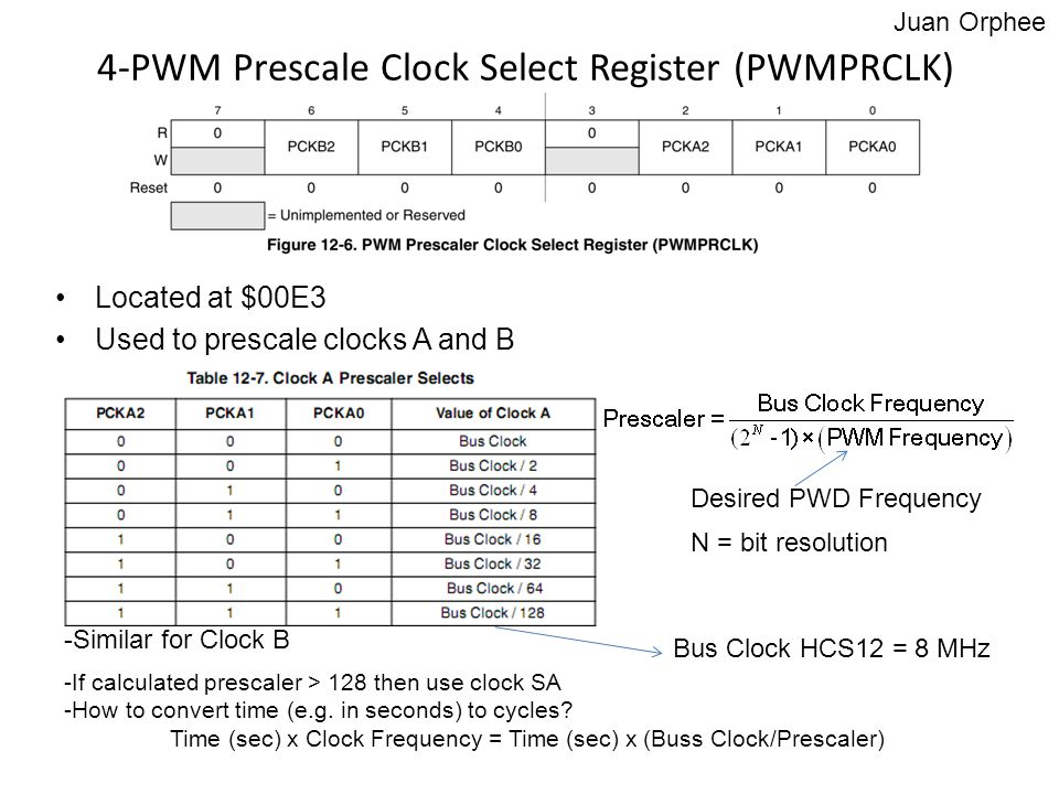 4-PWM Prescale Clock Select Register (PWMPRCLK) Located at $00E3 Used to prescale clocks A and B -Similar for Clock B -If calculated prescaler > 128 t