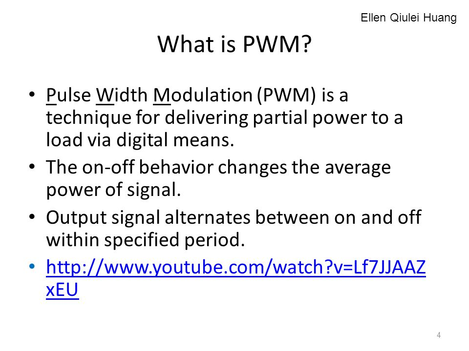What is PWM? Pulse Width Modulation (PWM) is a technique for delivering partial power to a load via digital means. The on-off behavior changes the ave