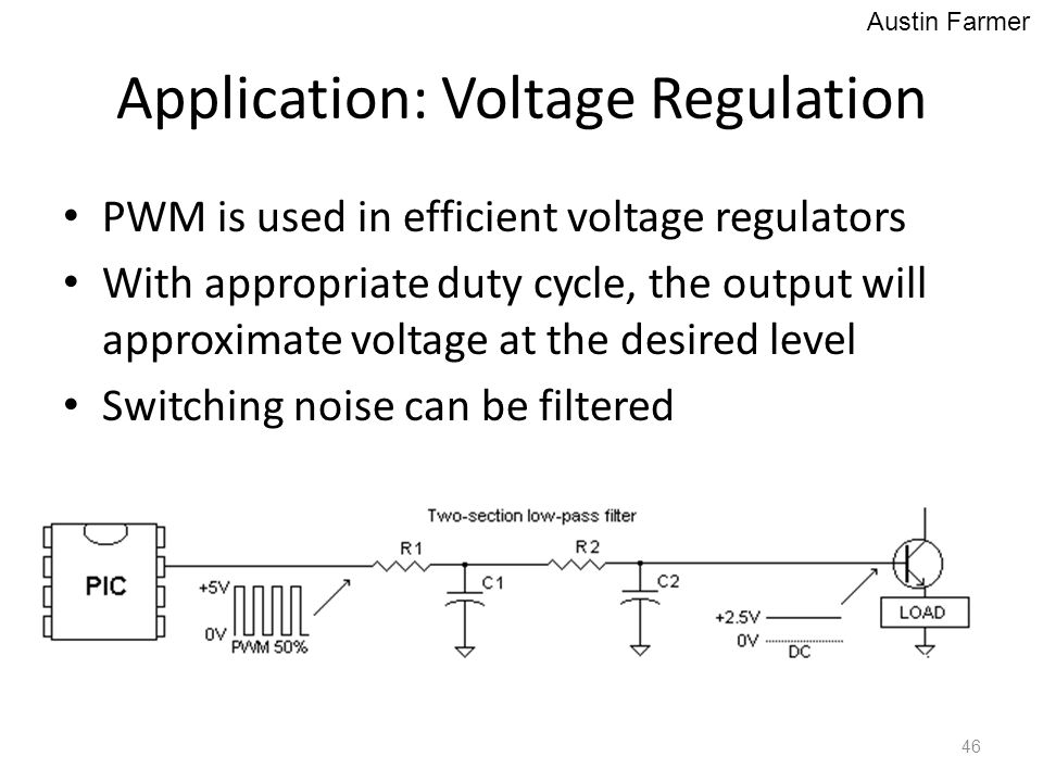 Application: Voltage Regulation PWM is used in efficient voltage regulators With appropriate duty cycle, the output will approximate voltage at the de