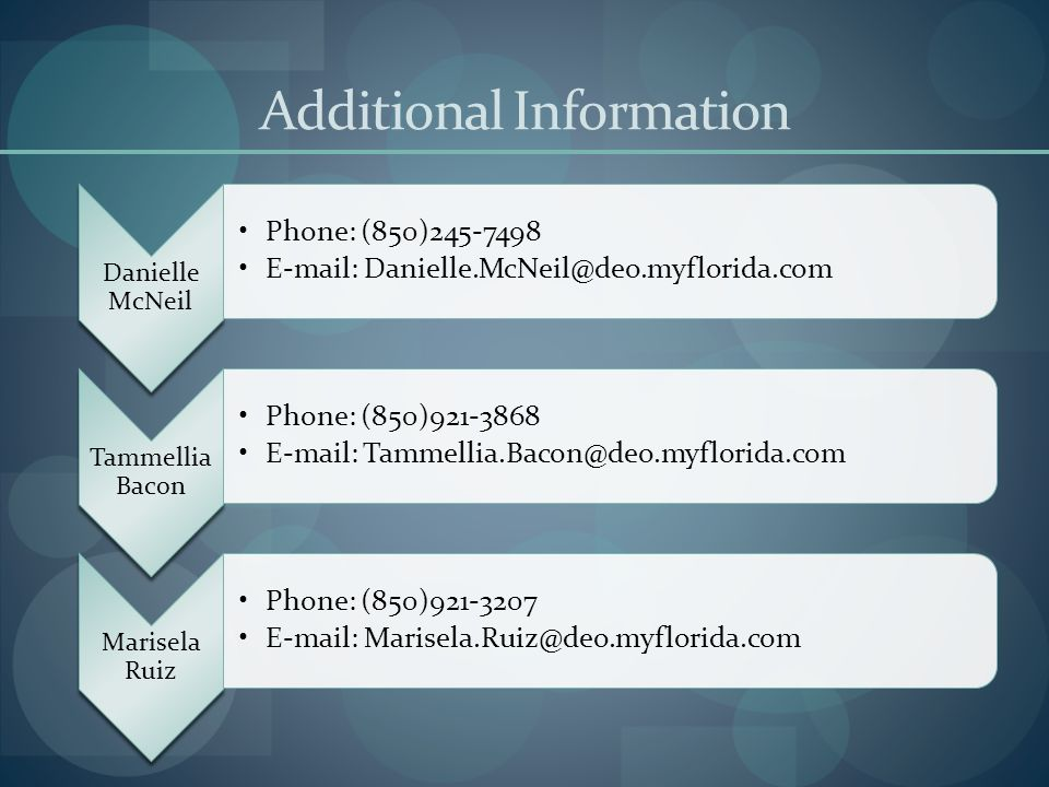 Additional Information Danielle McNeil Phone: (850)245-7498 E-mail: Danielle.McNeil@deo.myflorida.com Tammellia Bacon Phone: (850)921-3868 E-mail: Tam