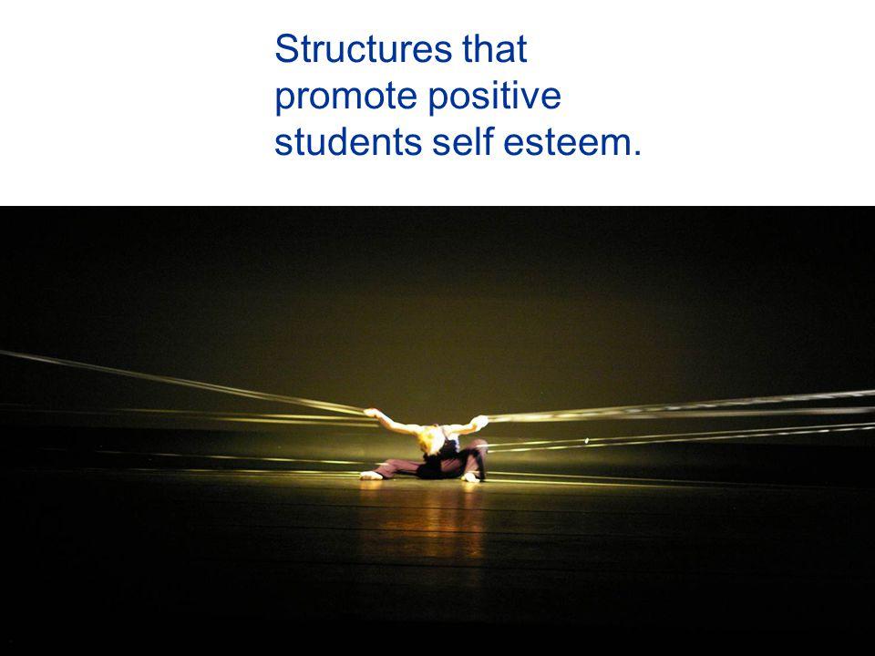 Structures that promote positive students self esteem.