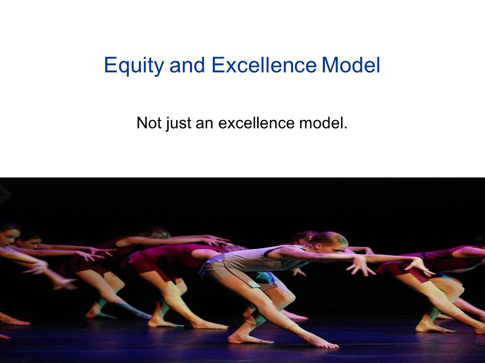 Equity and Excellence Model Not just an excellence model.