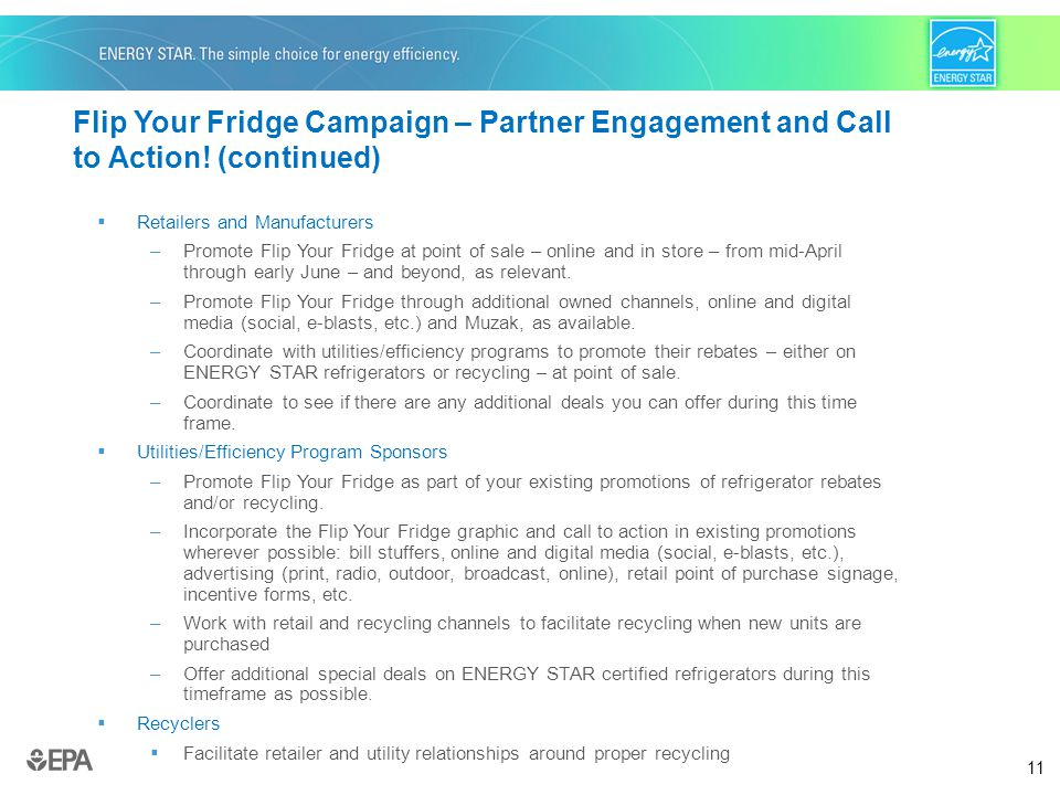 11 Flip Your Fridge Campaign – Partner Engagement and Call to Action.