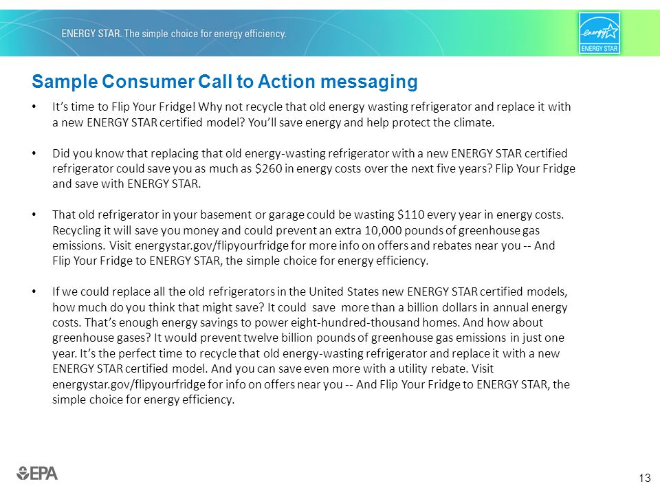 13 Sample Consumer Call to Action messaging It's time to Flip Your Fridge.