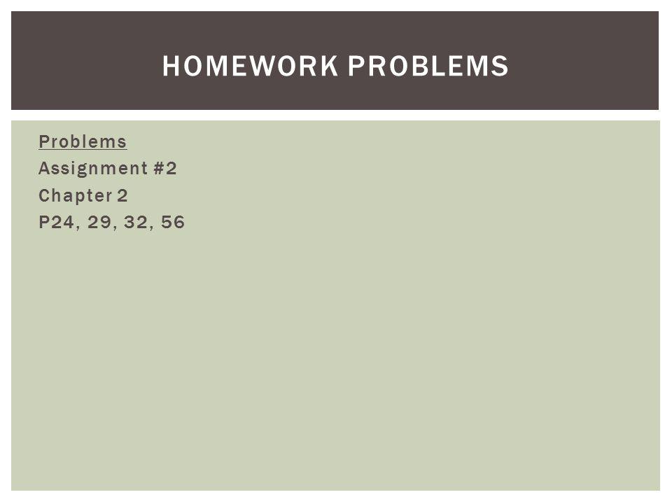 Problems Assignment #2 Chapter 2 P24, 29, 32, 56 HOMEWORK PROBLEMS