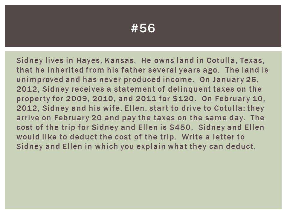 Sidney lives in Hayes, Kansas.