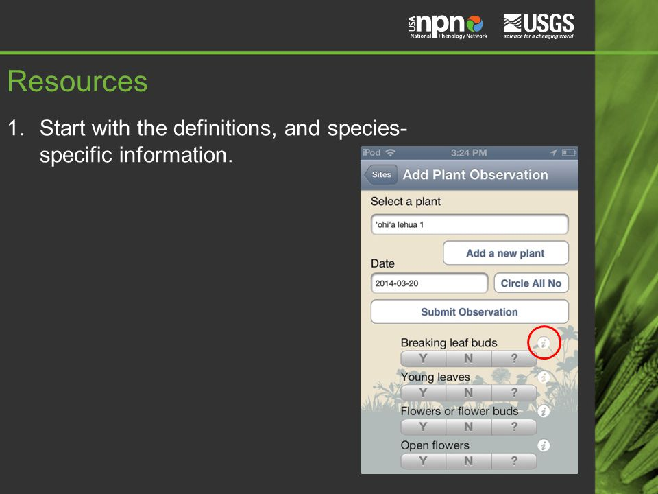 Resources 1.Start with the definitions, and species- specific information.