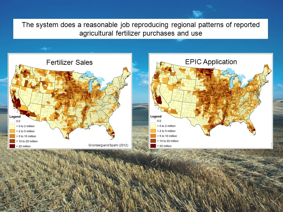 The system does a reasonable job reproducing regional patterns of reported agricultural fertilizer purchases and use EPIC Application Fertilizer Sales Gronberg and Spahr (2012)