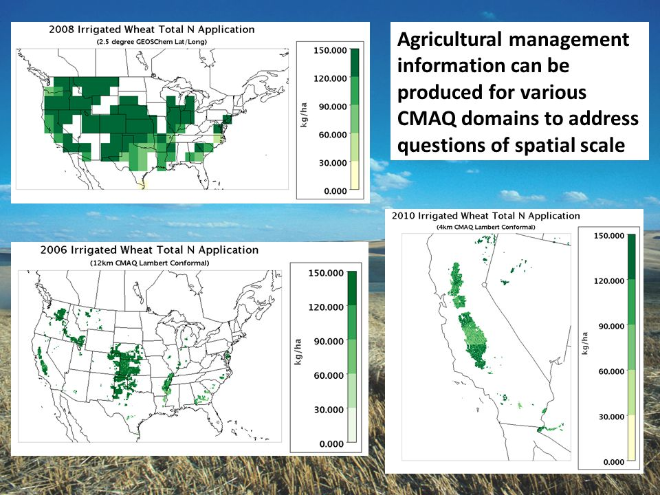 Agricultural management information can be produced for various CMAQ domains to address questions of spatial scale
