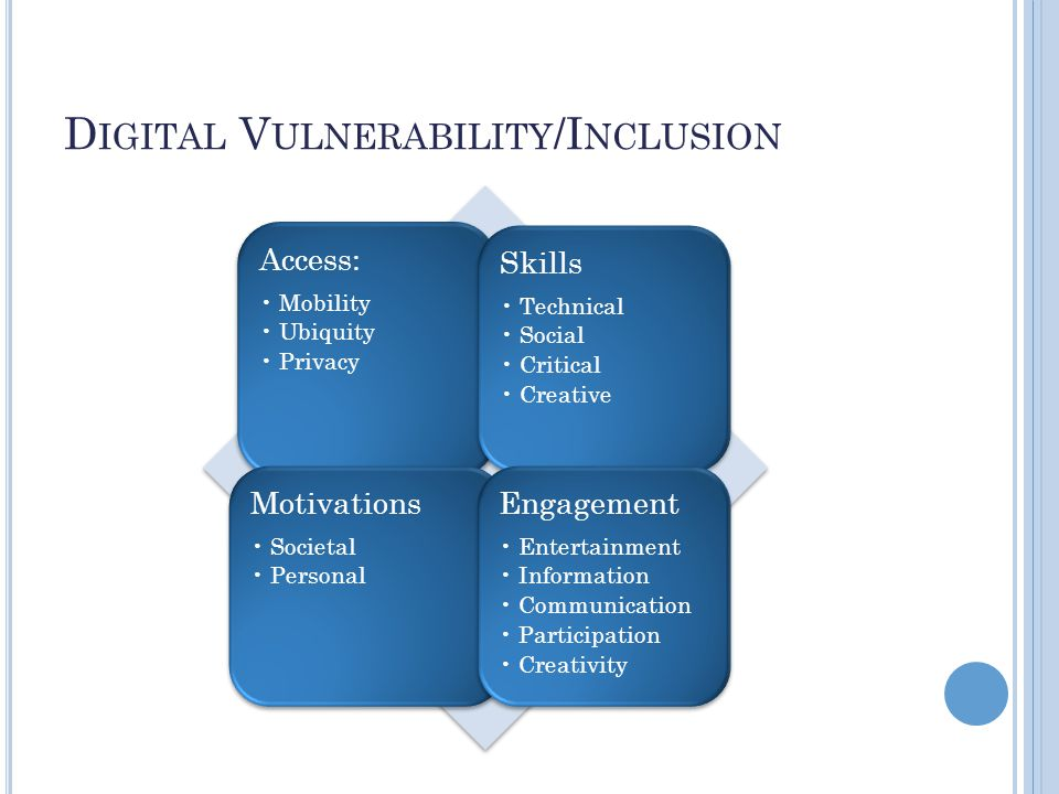 Access: Mobility Ubiquity Privacy Skills Technical Social Critical Creative Motivations Societal Personal Engagement Entertainment Information Communication Participation Creativity D IGITAL V ULNERABILITY /I NCLUSION