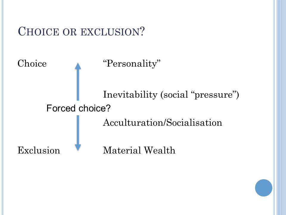 C HOICE OR EXCLUSION .