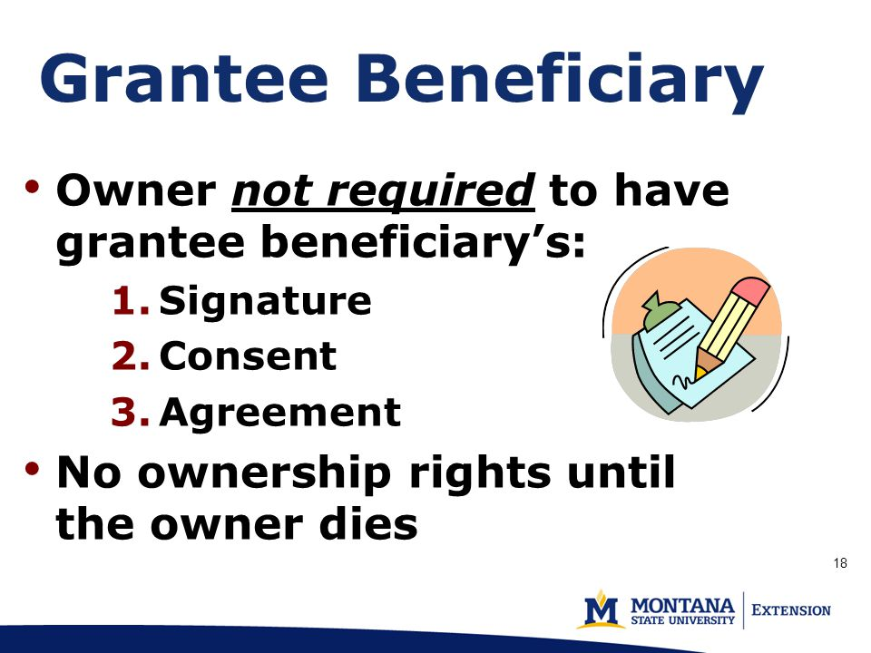 Grantee Beneficiary Owner not required to have grantee beneficiary's: 1.Signature 2.Consent 3.Agreement No ownership rights until the owner dies 18