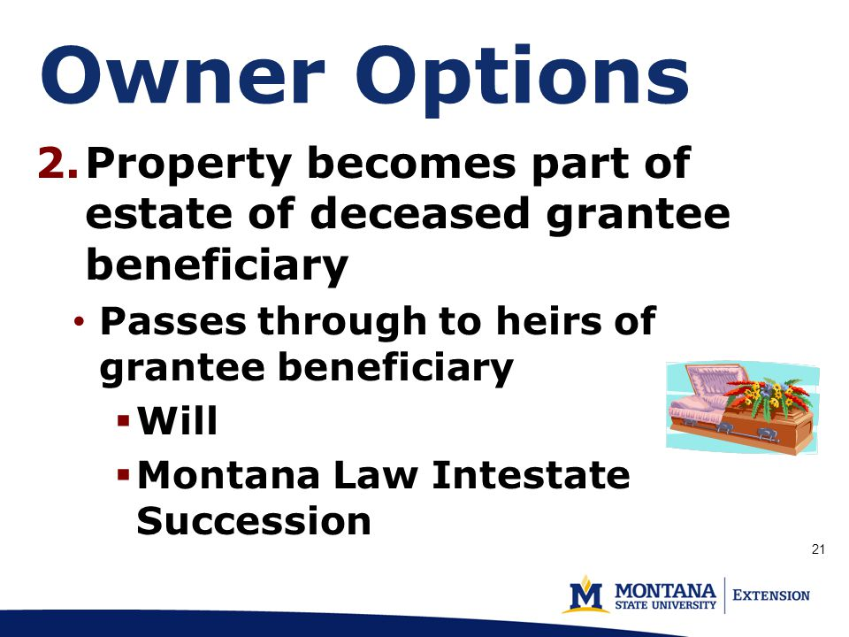 Owner Options (p 2.Property becomes part of estate of deceased grantee beneficiary Passes through to heirs of grantee beneficiary  Will  Montana Law Intestate Succession 21