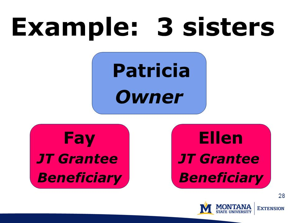 28 Example: 3 sisters Patricia Owner Fay JT Grantee Beneficiary Ellen JT Grantee Beneficiary