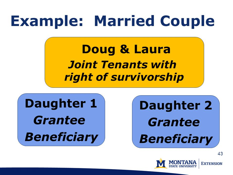 43 Example: Married Couple Doug & Laura Joint Tenants with right of survivorship Daughter 1 Grantee Beneficiary Daughter 2 Grantee Beneficiary