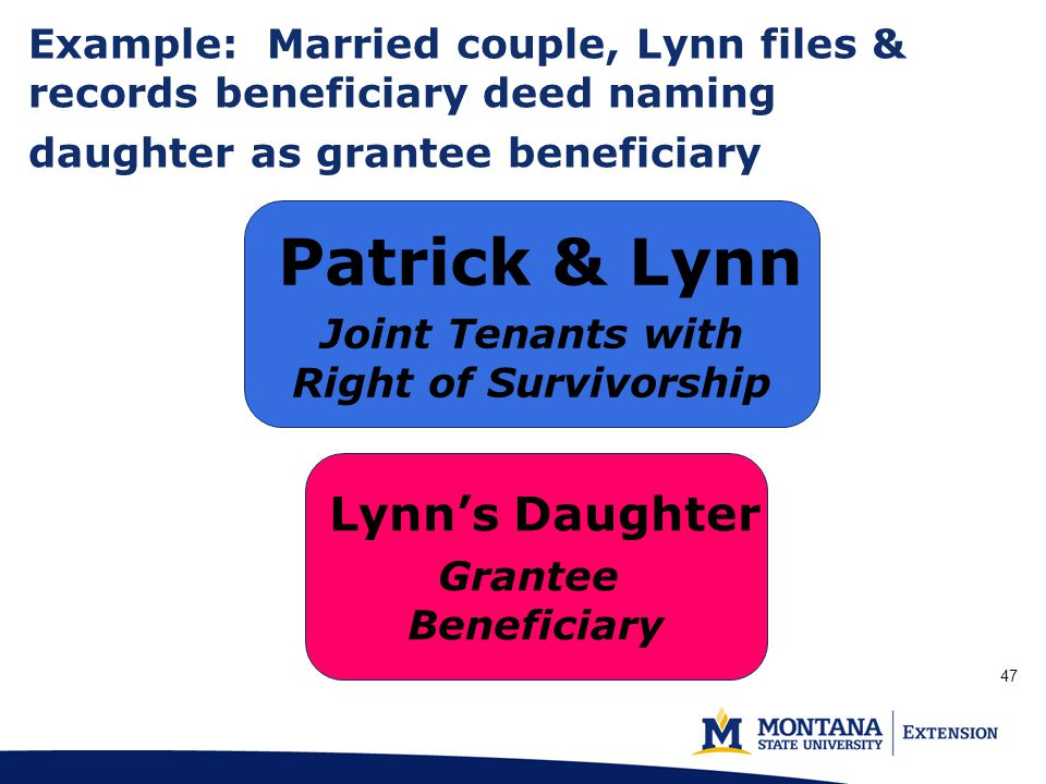 Example: Married couple, Lynn files & records beneficiary deed naming daughter as grantee beneficiary (p.