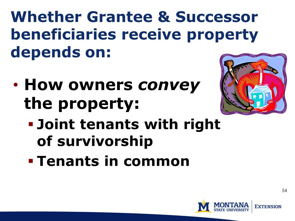 How owners convey the property:  Joint tenants with right of survivorship  Tenants in common Whether Grantee & Successor beneficiaries receive property depends on: (p.