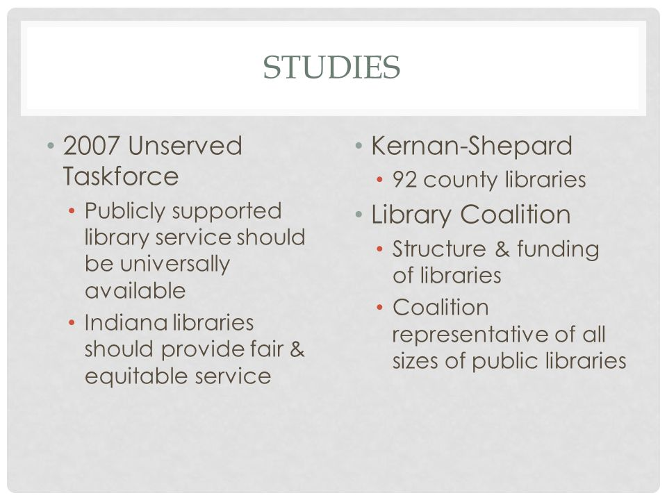 STUDIES 2007 Unserved Taskforce Publicly supported library service should be universally available Indiana libraries should provide fair & equitable service Kernan-Shepard 92 county libraries Library Coalition Structure & funding of libraries Coalition representative of all sizes of public libraries