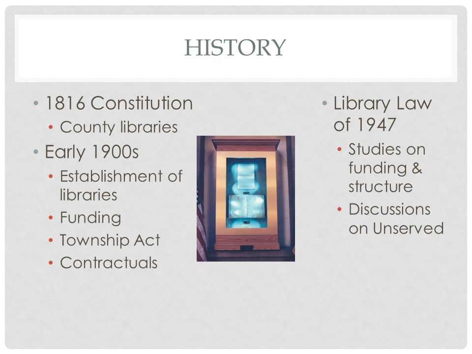 HISTORY 1816 Constitution County libraries Early 1900s Establishment of libraries Funding Township Act Contractuals Library Law of 1947 Studies on funding & structure Discussions on Unserved
