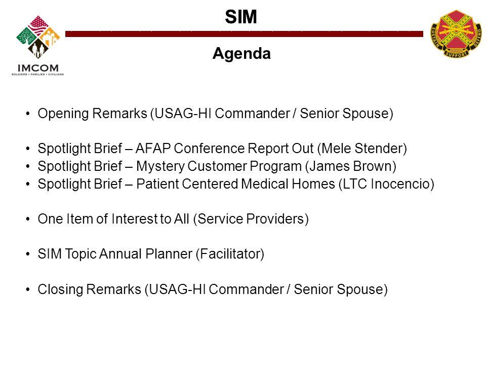 SIM Opening Remarks (USAG-HI Commander / Senior Spouse) Spotlight Brief – AFAP Conference Report Out (Mele Stender) Spotlight Brief – Mystery Customer