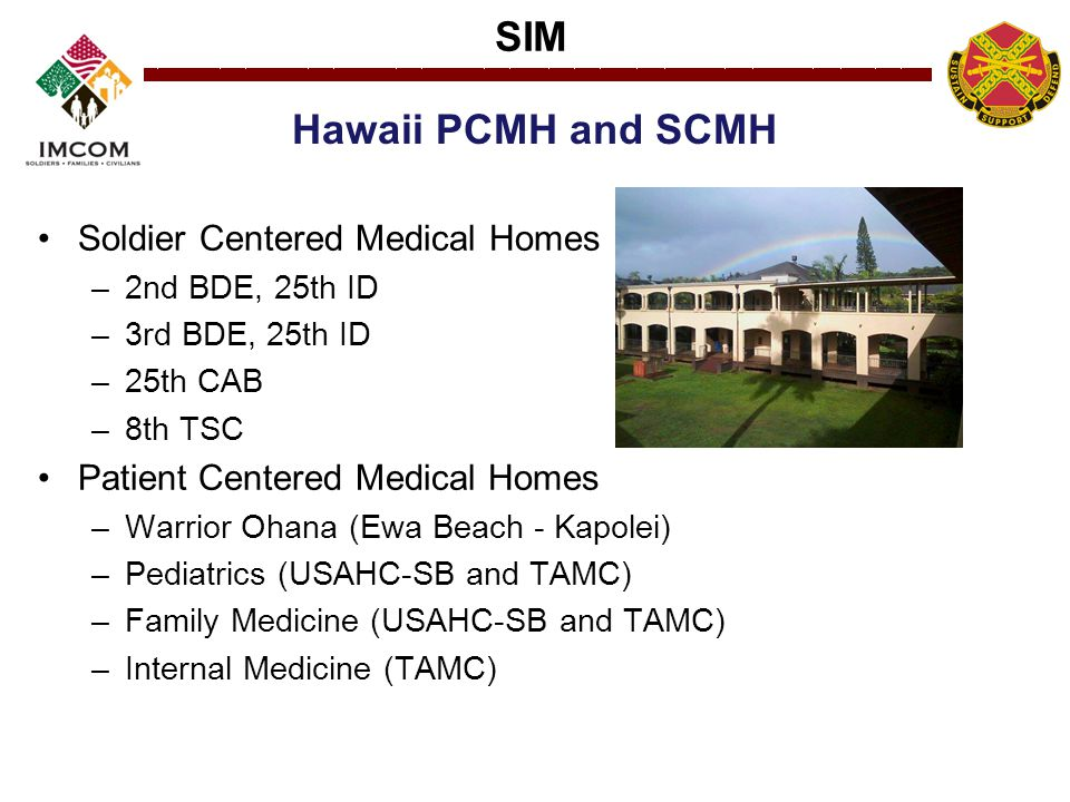 SIM Hawaii PCMH and SCMH Soldier Centered Medical Homes –2nd BDE, 25th ID –3rd BDE, 25th ID –25th CAB –8th TSC Patient Centered Medical Homes –Warrior