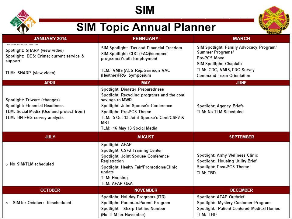 SIM SIM Topic Annual Planner JANUARY 2014FEBRUARYMARCH Spotlight: SHARP (view video) Spotlight: DES: Crime; current service & support TLM: SHARP (view