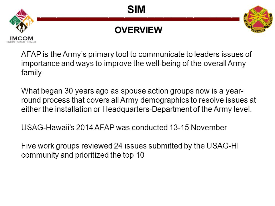 SIM AFAP is the Army's primary tool to communicate to leaders issues of importance and ways to improve the well-being of the overall Army family. What