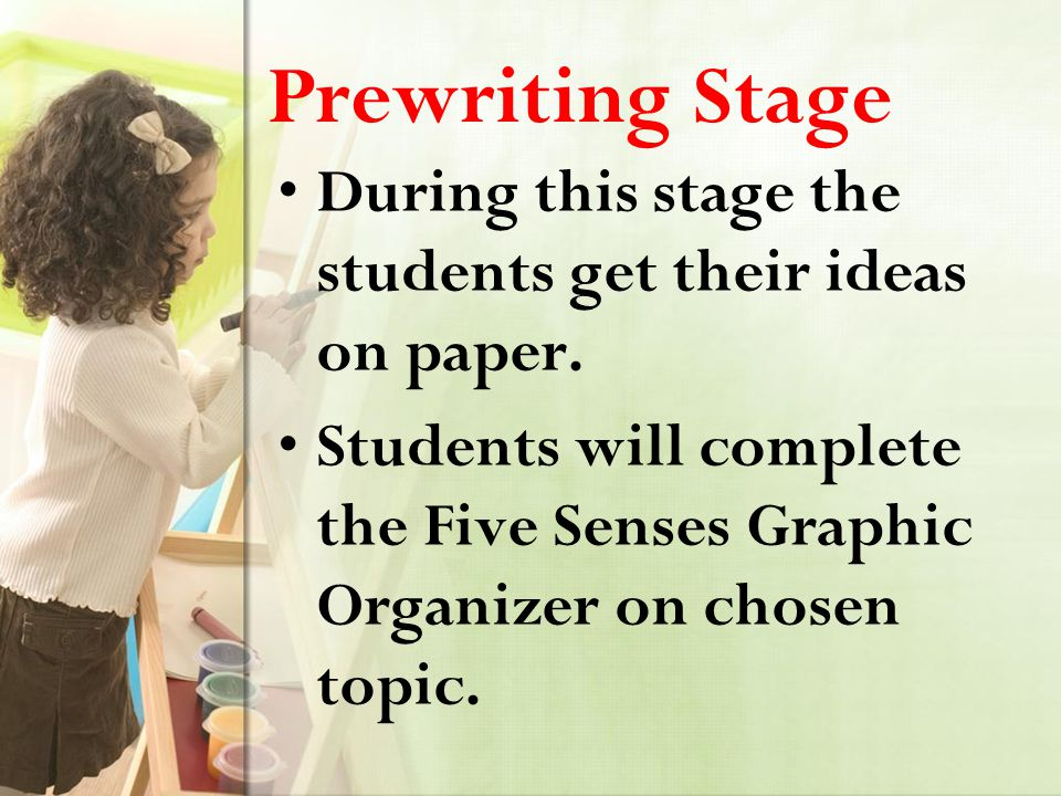 Prewriting Stage During this stage the students get their ideas on paper.