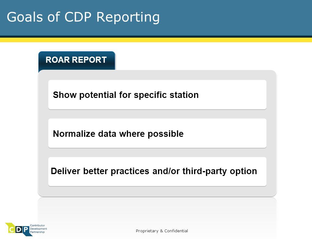 Proprietary & Confidential Goals of CDP Reporting ROAR REPORT Show potential for specific station Normalize data where possible Deliver better practices and/or third-party option